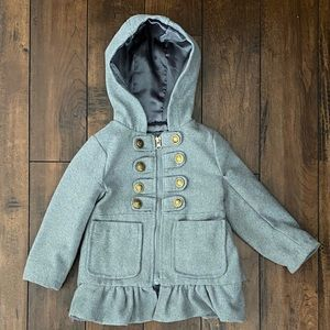 Girls 2T gray wool pea coat, front pockets